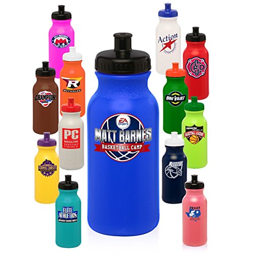 50 Personalized BPA Free 20 oz. Sports Water Bottles Printed With Your Logo Or Message