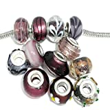 Ten (10) Assorted Purple Glass Lampwork, Murano Glass Beads for European Style Bracelets