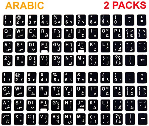 [2 Packs] Replacement English Arabic Keyboard Stickers on Non Transparent Black Background for Any PC and Laptop (ARB)