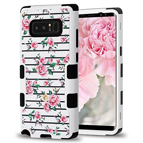 (Samsung Galaxy Note 8 Case, Designer Hybrid, Slim Fit Polycarbonate and Silicone TPU Hard Cover - Pink Roses on)
