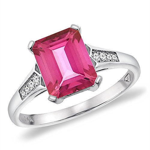 14K White Gold Natural Pink Topaz Ring 9x7 mm Octagon with Diamond Accent, size 9.5