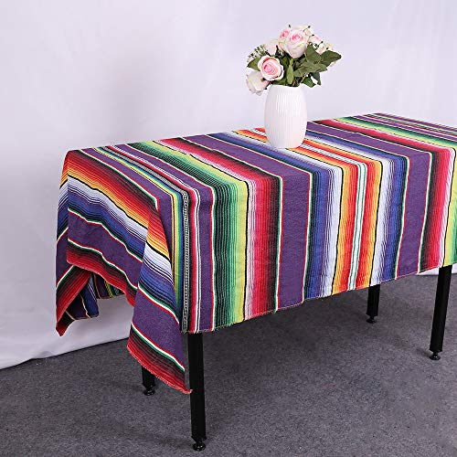 GFCC 57''x102'' Purple Mexican Blanket Tablecloth Rectangular Cotton Mexican Serape Table Cloth for Mexican Wedding Themed Party Decorations Party Supplies Accessories