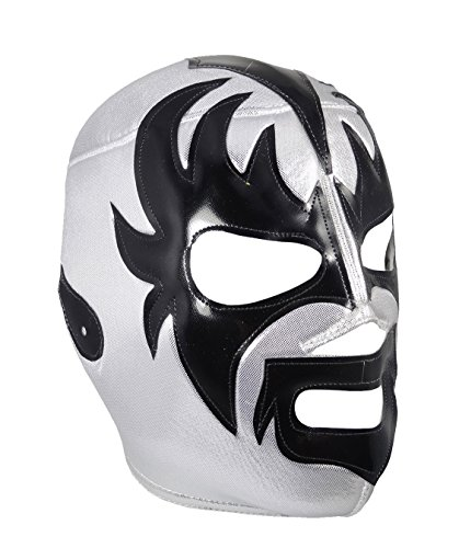 Pro Wrestling Halloween Costumes (KISS Adult Lucha Libre Wrestling Mask (pro-fit) Costume Wear - SILVER)