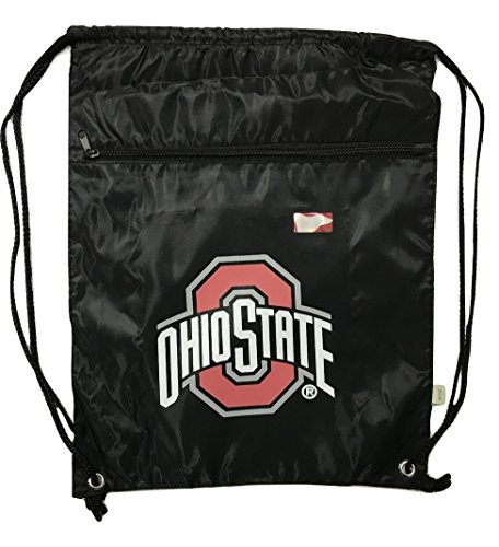 Ohio State Collegiate Licensed Black/Red/Grey Drawstring Bag with (State Drawstring)