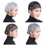 Ksweet 4pcs Shiny Lace Head Cover Stretch Head Cap Bonnet Women Underscarf (White-Black-Coffee-Grey)