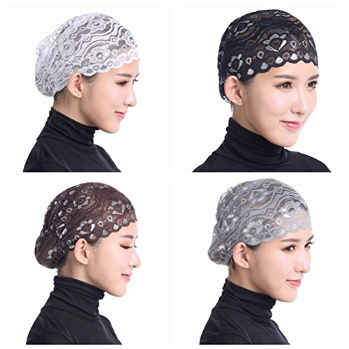Ksweet 4pcs Shiny Lace Head Cover Stretch Head Cap Bonnet Women Underscarf (White Satin Top Hat)