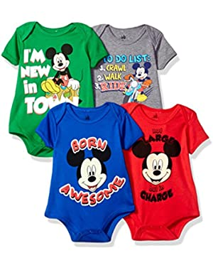 Disney Baby Mickey Mouse 4-Pack Short Sleeve Bodysuit