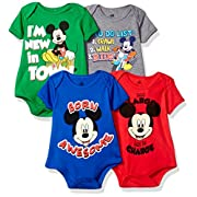 Disney Baby Mickey Mouse 4-Pack Short Sleeve Bodysuit, Heather Grey/Royal/Red/Green, 3-6M