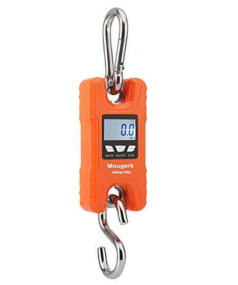eba71954f8ff Mougerk 500 kg 1100 lb Portable Heavy Duty Digital Crane Scale Hanging  Scales 2 AAA Batteries(Not Included)