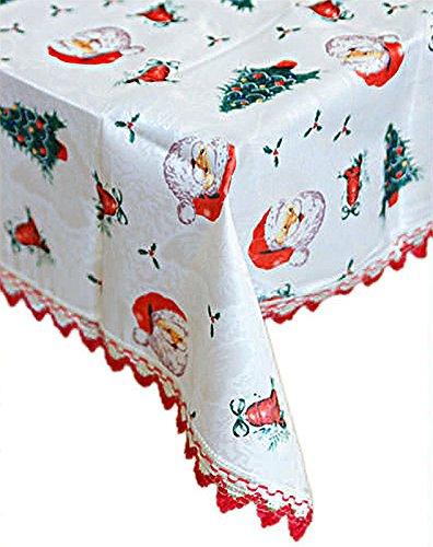 Elegante Weihnachtstischdecke Tischdecke Weihnachten Advent versch. Motive 150x110 190x150 (C: Weihnachtsmann, 190x150 cm)