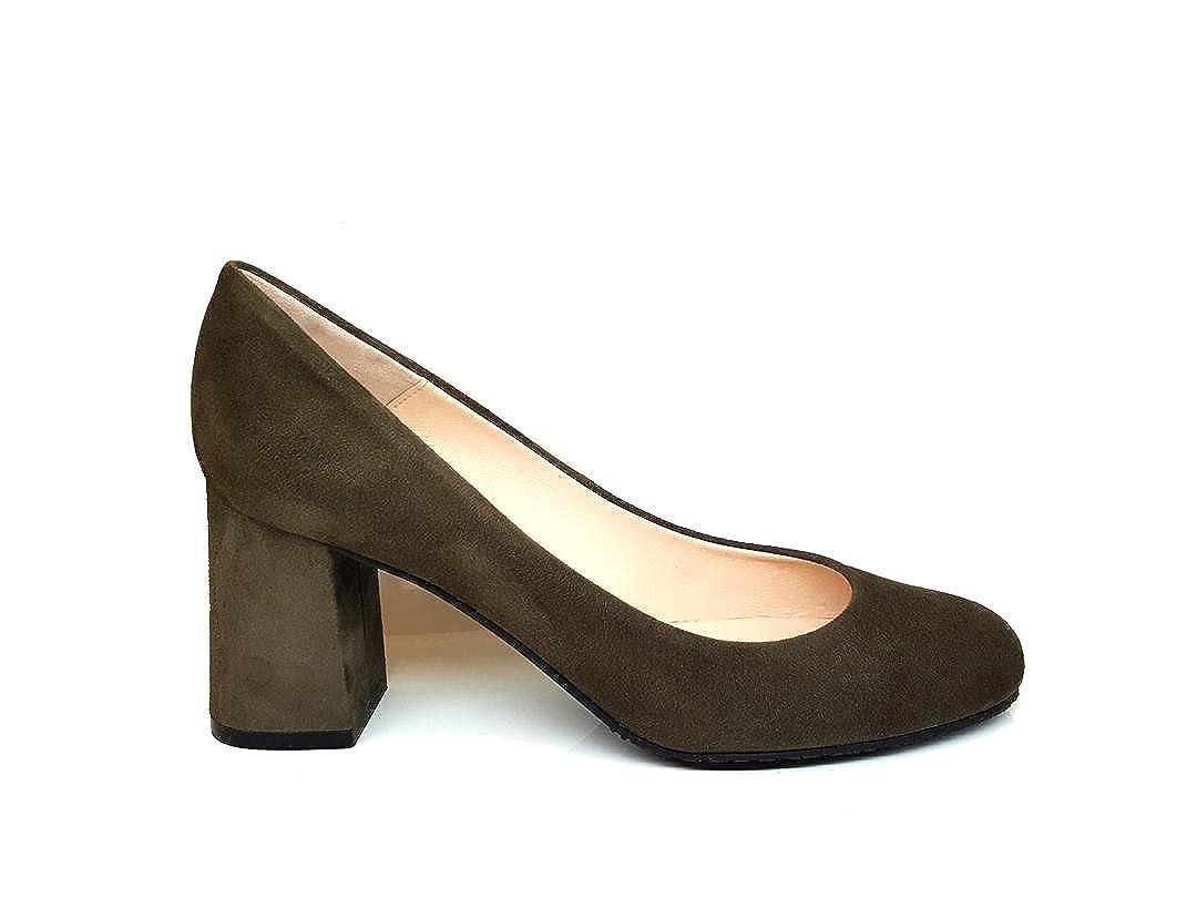 TALLA 43 EU. Gennia Viva - Zapatos de Tacón Ancho 7 cm con Punta Redonda Cerrada para Mujer