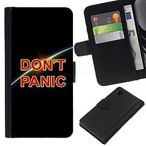 KLONGSHOP // Tirón de la caja Cartera de cuero con ranuras para tarjetas - Dont Panic Tierra Planet Cosmos Universo - Sony Xperia Z1 L39 //