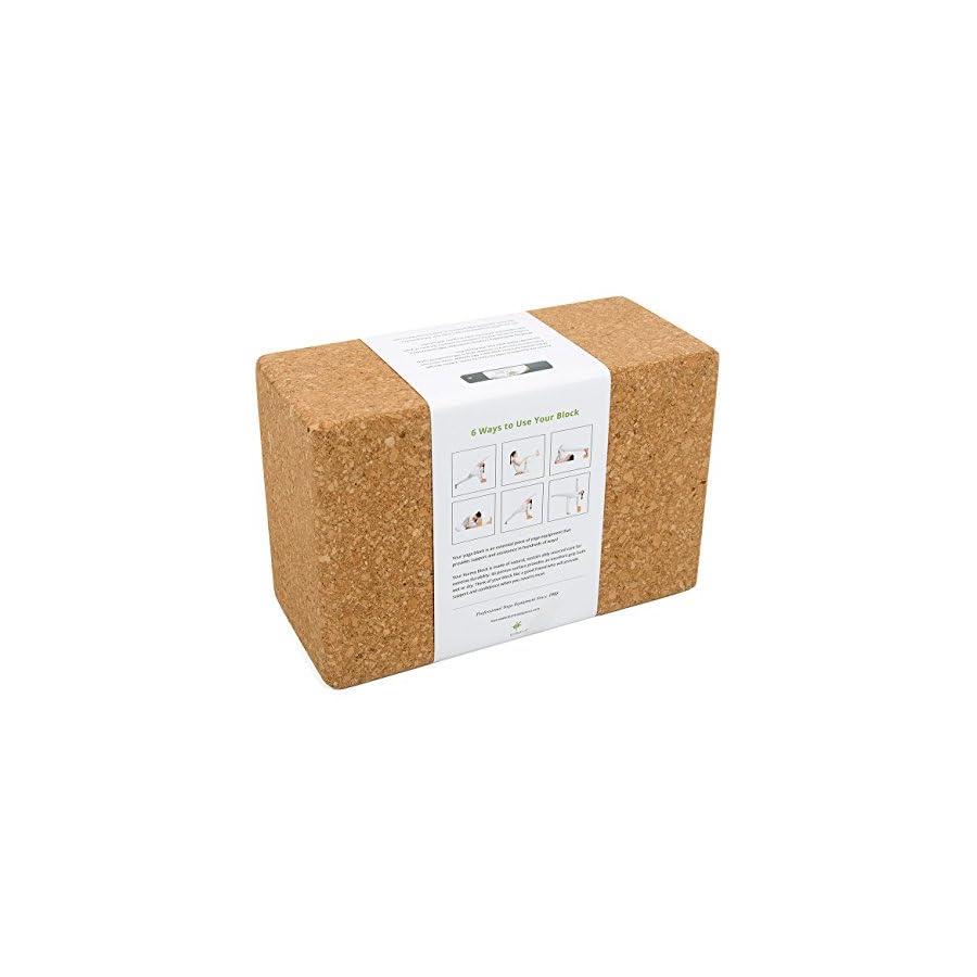 Yoga Blocks and Strap Set, Cork Yoga Blocks 2 Pack with Cotton Yoga Strap, Professional Quality Props
