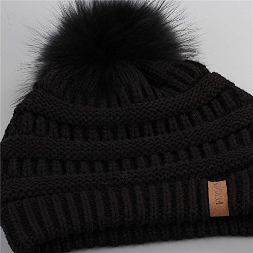 FURTALK Winter Fur Pom Pom Hat - Warm Knit Slouchy Beanie Hats For Women  Chunky Soft Stretch Cable Caps Original - Buy Online in Oman. 426d276a0f87