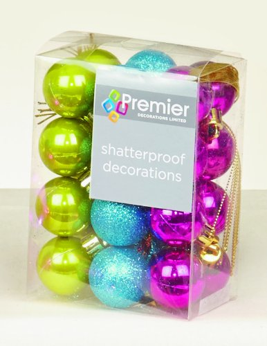 24 X Multi Colour Shatterproof Christmas Tree Baubles Decorations Mixed Finishes
