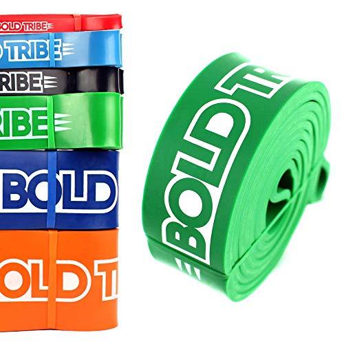 Ligas de Resistencia Crossfit & Pull Ups Bold Tribe (6 Colores Disponibles). Incluye Extra 1 Mini Banda de Estiramiento (Loop...