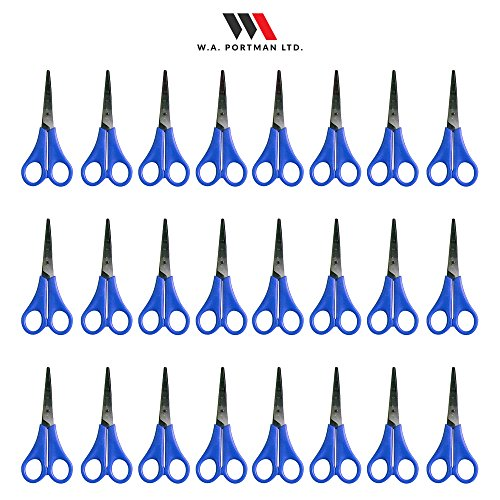 Kids Scissors Multi Pack for Classroom - Safety Scissors for Toddlers & School Kids Craft Supplies (24 Pairs 5-inch Scissors Set, Blunt Tip, Blue)