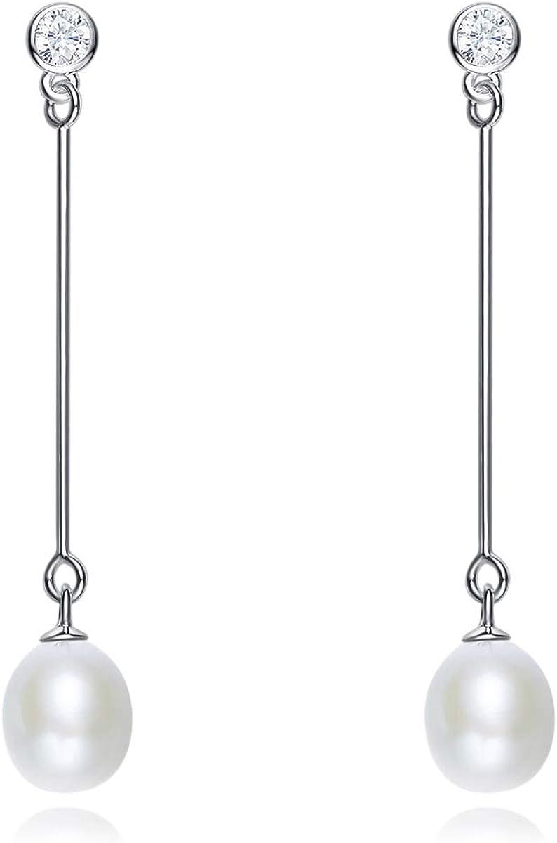 Pendientes largos de perlas cultivadas en agua dulce de Pearlove, de plata de ley 925, con borla, cadena de perlas, joyería para mujeres con elegante caja de regalo