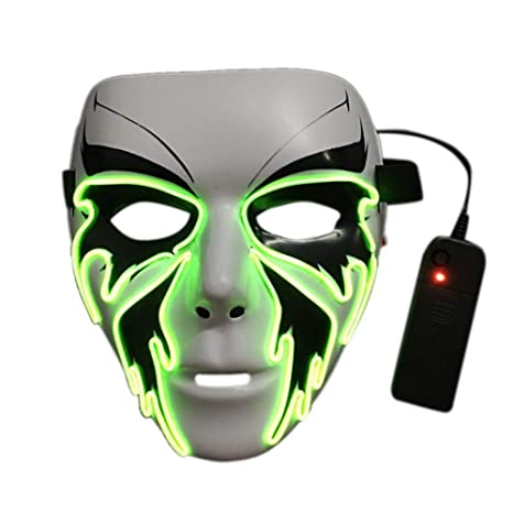 Alian Halloween Máscara resplandeciente Luz fría Máscara de baile de calle de plástico mariposa negra máscara