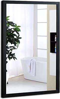 Bathroom Mirror Wall Hanging HD Framed Mirror Wall Mounted Decorative Mirror  (Color : Black