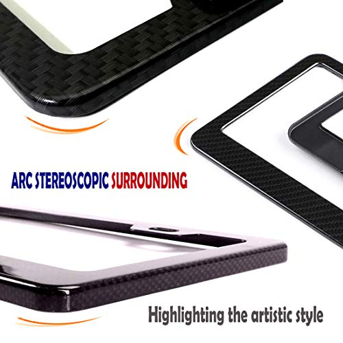 Black Aluminum Plate Frame Printed Carbon Pattern with Stainless Steel Plate Screws and Black /& Chrome Caps License Plate Frame Carbon Fiber