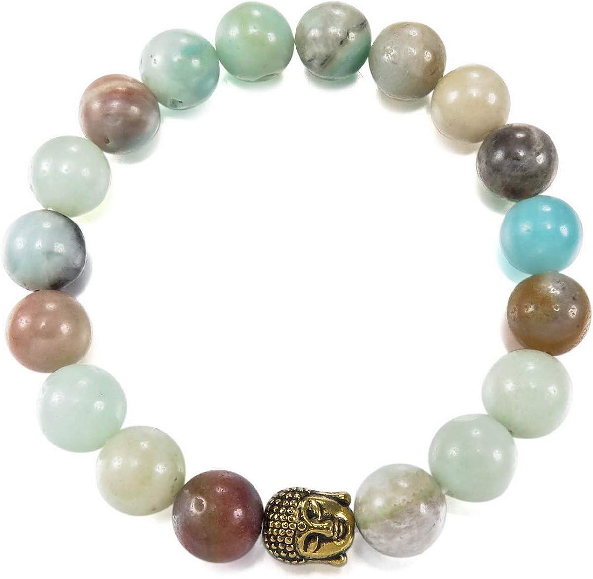 MunkiMix 10mm Alliage Bracelets d/énergie Lien Poignet Buddha Mala Boule Perle /Élastique Homme,Femme