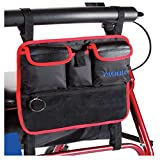Walker, Rollator Organizer Bag for Hands Free Storage by MOBB- fits Folding, Rolling Walkers, and Rollators-
