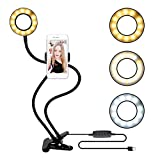 GUDUO Compatible Table Desk Lamp USB Selfie Led Ring Light in Flexible Metal Stand iPhone 4s/5/5s/6/6s/7/7s/8 Mobile Phone Picture Video Clip Holder (Black)