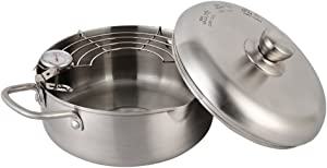 Stainless steel Tempura Fryer Pot, Mini Deep Fry Pan with Drainer, With Thermometer 7.9 Inch (20 cm) (B)