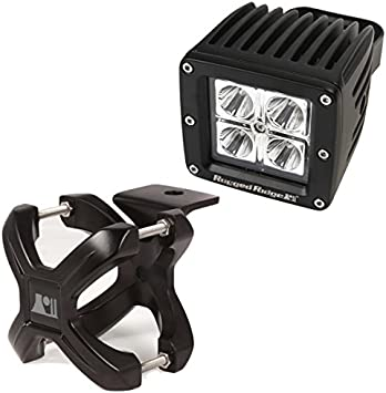 15210.22 Black Small 2-Piece X-Clamp and Square LED Light Kit Rugged Ridge