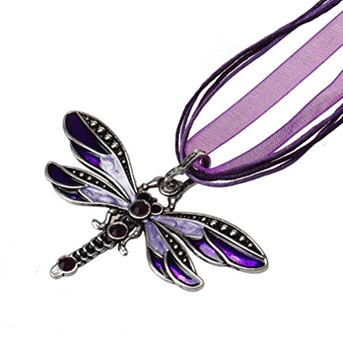 Usstore Women Retro Dragonfly Pendant Chain Rhinestone Necklace Partty Gift Jewelry Alloy (Purple)