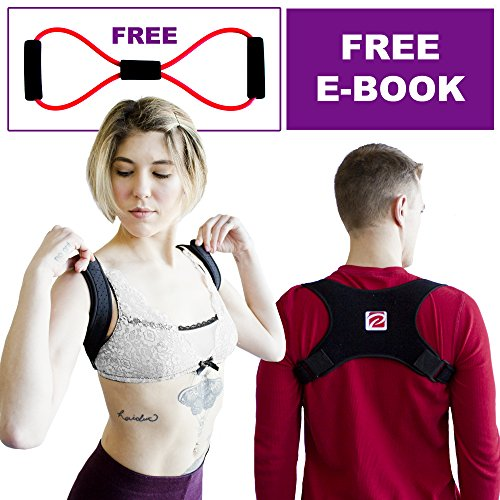 Best Posture Corrector Brace for Women, Men, Teens-Adjustable, Breathable, Comfortable Support-Discreet Neck, Upper Back, Shoulder Correction Trainer for Pain and kyphosis- Free eBook/Resistance Band - Perin Designs