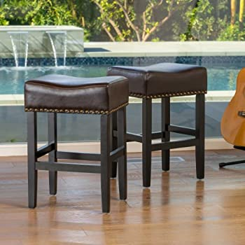 Chantal Backless Brown Leather Counter Stools w/ Brass Nailheads (Set of 2) & Amazon.com: Chantal Backless Brown Leather Counter Stools w/ Brass ... islam-shia.org