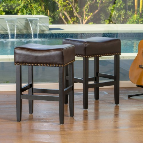 Back Leather Counter Stool (Chantal Backless Brown Leather Counter Stools w/ Brass Nailheads (Set of 2))