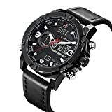 Sport Digital Analog Watches for Men Black Military Leather Chronograph Wrist Watch with Waterproof
