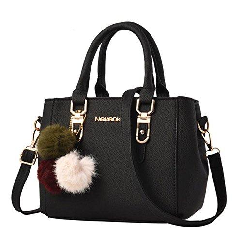Nevenka Women Bags Handbag Shoulder Bags PU Leather Zipper Bags Casual Purse Crossbody Totes (M, Black)