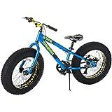Mongoose Kong Fat Tire bicicleta de montaña para niños y niños, con 13 pulgadas/pequeño marco de acero de alta tensión, 7 velocidades Shimano Drivetrain, frenos de disco mecánico y ruedas de 20 pulgadas, azul