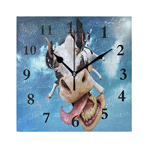 ZHOUSUN Personalized Non Ticking Silent Clock Art Living Room Kitchen Bedroom for Home Decor Flying Cow Square Acrylic Wall Clock