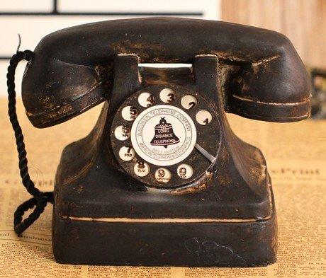 超アンティーク風 黒電話型置物