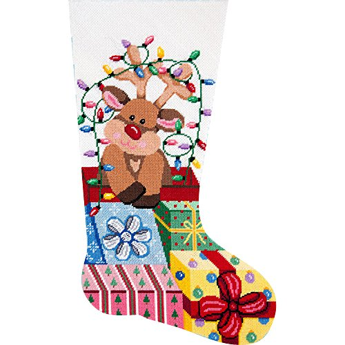 (Alice Peterson Home Creations Holiday Edition Needlepoint Stocking Kit-- Gift Wrapped Reindeer - Large, Deluxe Size)