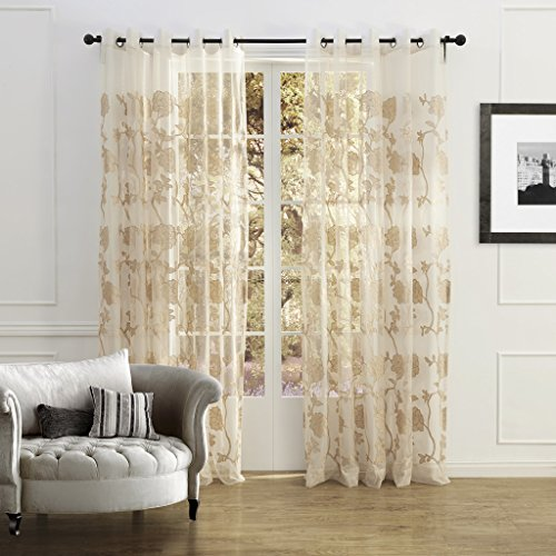 IYUEGO Country Elegant Beige Blossoms Embroidery Sheer Curtains Grommet Top With Custom Multi Size 100