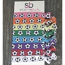 Soccer Hair Accessories, Soccer Hair Ties, No Crease Soccer Hair Elastics Set of 8