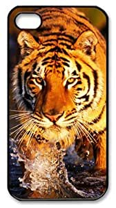 Art Fashion Black PC DIY Case for iPhone 4 Generation Back Cover Case for iPhone 4S with Fierce Tiger