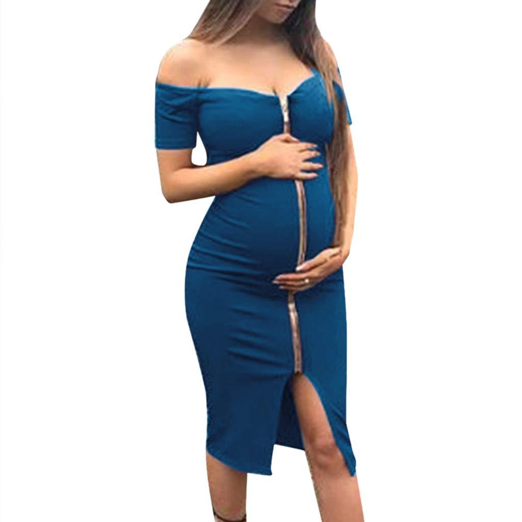 Maternity Dresses for Women,Off Shoulder Short Sleeve Cutout Full Zipper Slim Fit Dress (S, Blue)