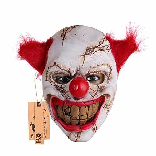 Mask Big Mouth Red Hair Nose Cosplay Full Face Horror Masquerade Adult Ghost Party Mask for Halloween Props (Sick Person Halloween Costume)