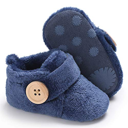 BENHERO Baby Newborn Crib Cozy Fleece Winter Booties Non Skid Soft Sole Shoes Warm Winter Socks (12-18 Months M US Infant), A-Navy ()