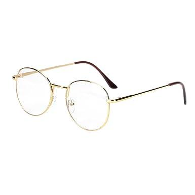 f2b68ba7db3b0 Runde Brille Metall retro schmaler rahmen unisex Nerdbrille ohne sehstärke  Damen Herren Streberbrille Dekobrillen clear lens