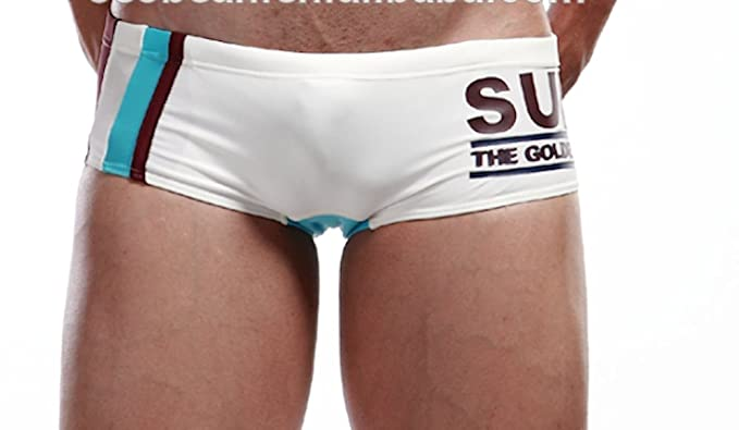 7eb44b3d16 Surf The Golden State Mens Low Rise Hipster Quality Swimming Trunks (Small  (30 inch waist), White): Amazon.co.uk: Clothing