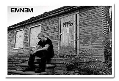 Eminem MMLP 2 Marshall Mathers Poster Magnetic Notice Board White Framed - 96.5 x 66 cms (Approx 38 x 26 inches)