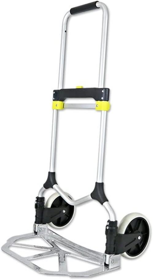 LIUSIXIAO-Shopping cart Hand Truck Luggage Cart Shopping Cart Mute Small Cart Fold Van Pull The Truck Portable Two Rounds Trolley Load 90 Kg OYO Color : Black